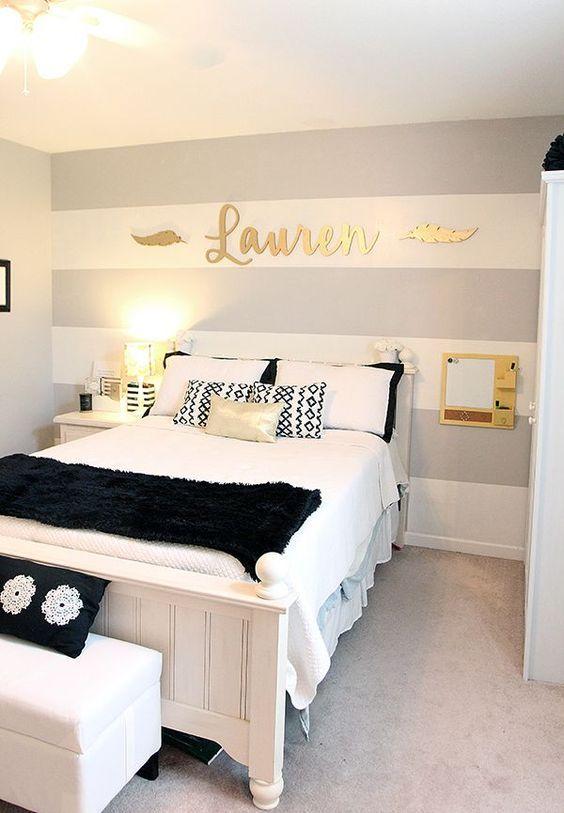 gray striped walls teen girl bedrooms