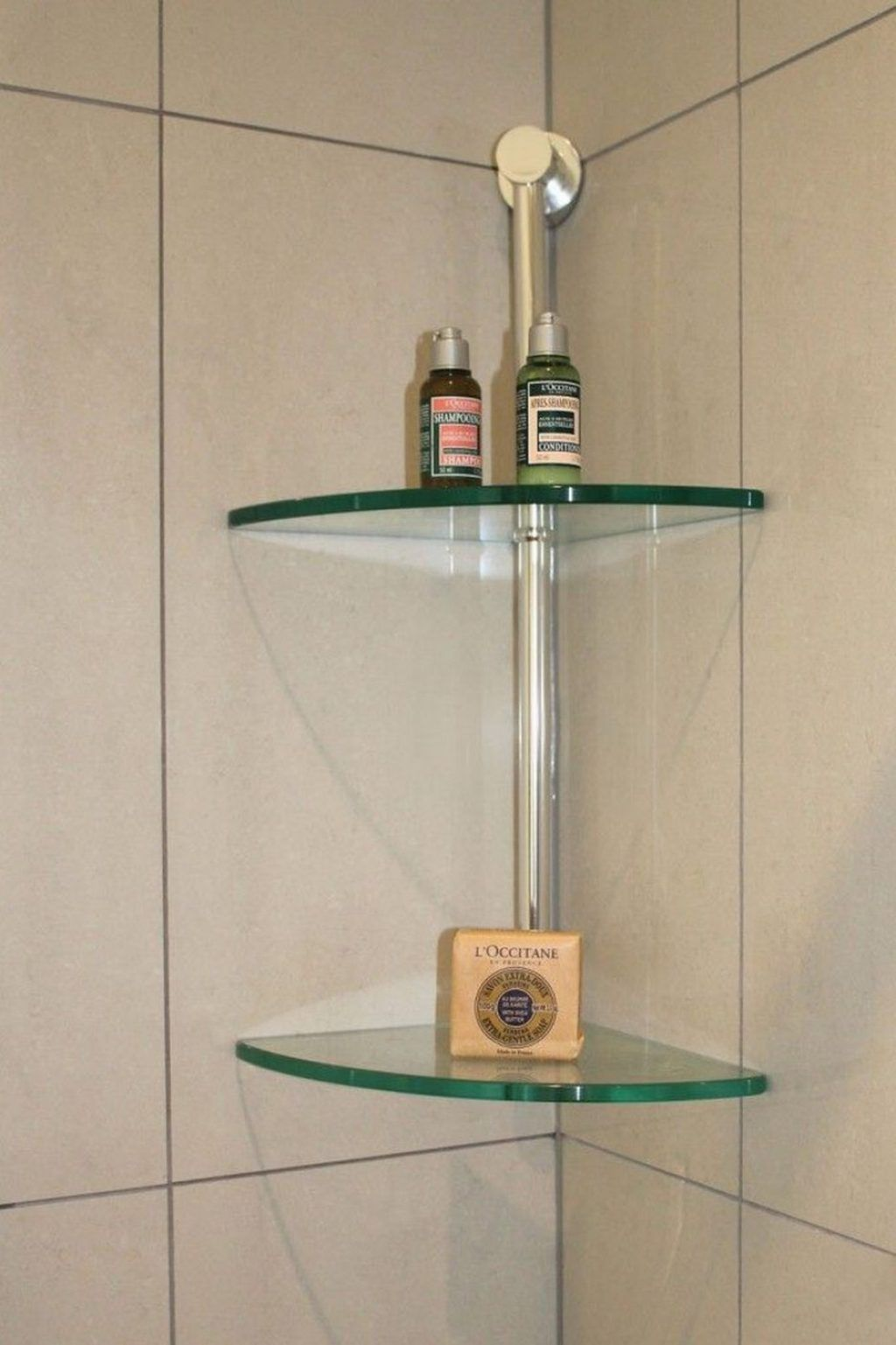 Awesome Clear Tempered Glass Wall Mounted Corner Shelves Placed On The  Ceramic Wall Ideas