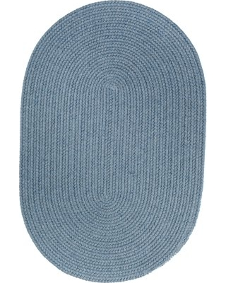 Blue Wool Rug Solid Braided Textured 5 Feet by 8 Feet Oval Thick Casual  Carpet