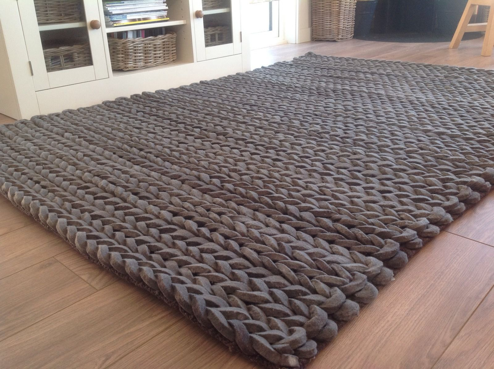 Beautiful Luxury Thick Hand Loomed Charcoal Grey Pleated Wool Rug