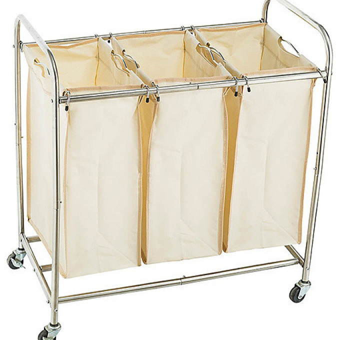 Three Bin Laundry Cart Contemporary Hampers