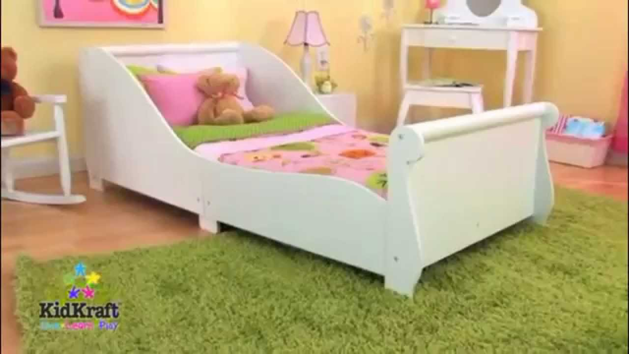 Kids Childs Toddler Junior My First Sleigh Cot Bed KidKraft Bedroom  Furniture - YouTube