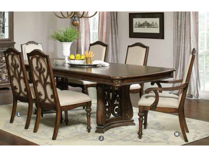 Antique Java Cream Fabric Trestle Dining Table Set - Shop for