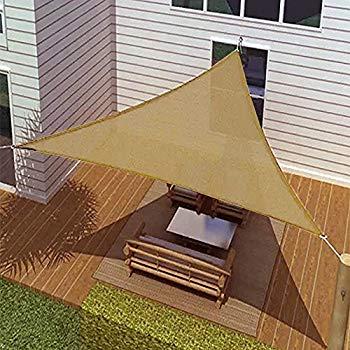 Idirectmart Triangle Sun Shade Sail 16 Feet 5 Inches - Sand