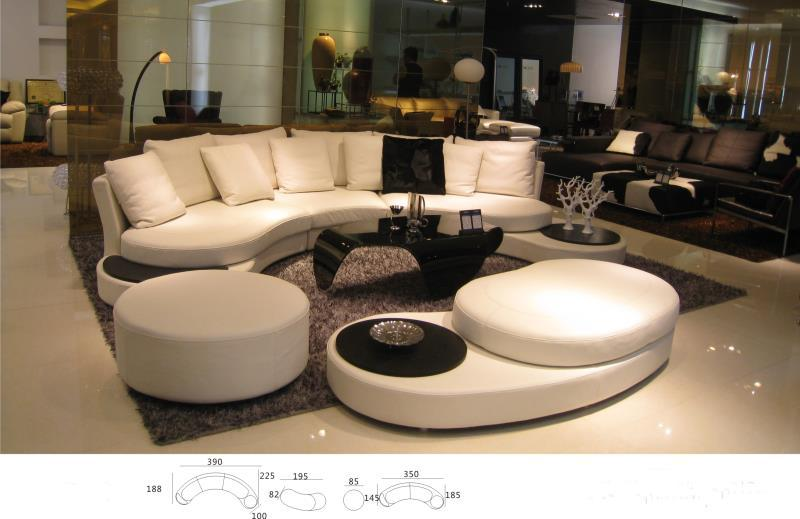 Unique real cow Leather Sofa Living Room Sofa Set Modern Leather Sofa  Foshan home furniture arc shape modern style