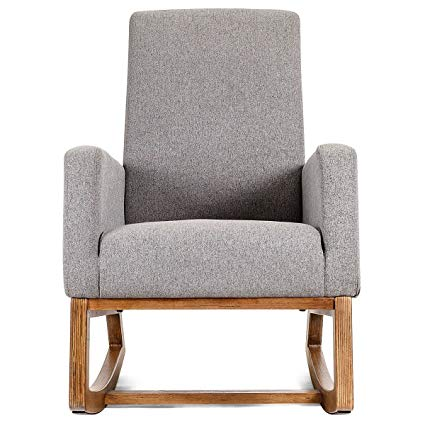 Amazon.com : Mid Century Retro Modern Fabric Upholstered Rocking