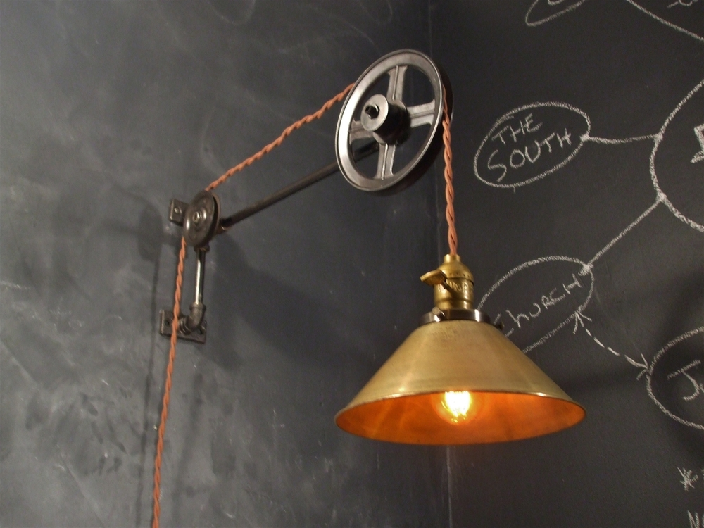 Vintage Industrial Pulley Lamp - Large (w/ Brass Cone Shade) u2014 DW