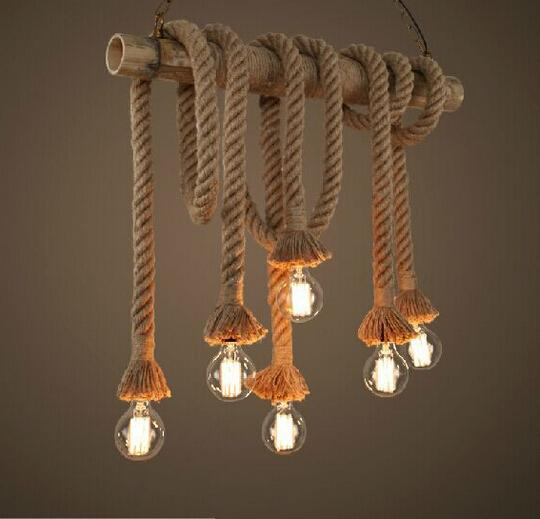 New Design Retro Single Heads Rope Pendant Lights Loft Vintage Lamp