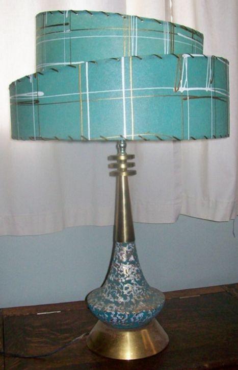 Aqua/Turquoise & Gold Cottage u2022~u2022 vintage MCM table lamp with