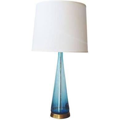Vintage Mid Century Modern Aqua Blue Blown Glass Table Lamp | Craft