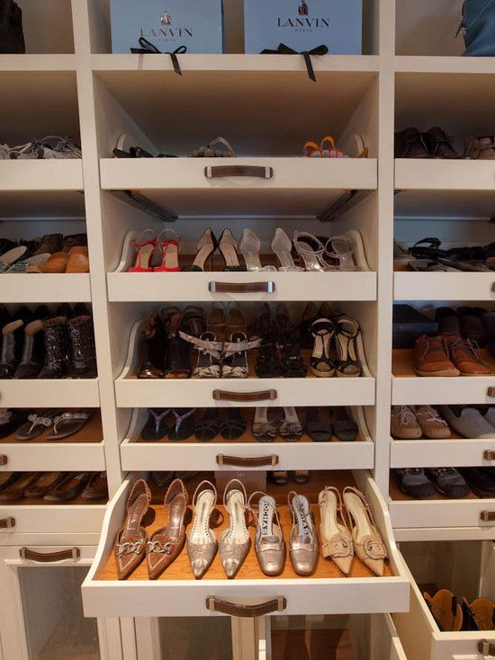 The ultimate in shoe storage and organised display. Woodmeister Master  Builders. White cabinetry with wood drawer lining. | Organization | Closet  designs