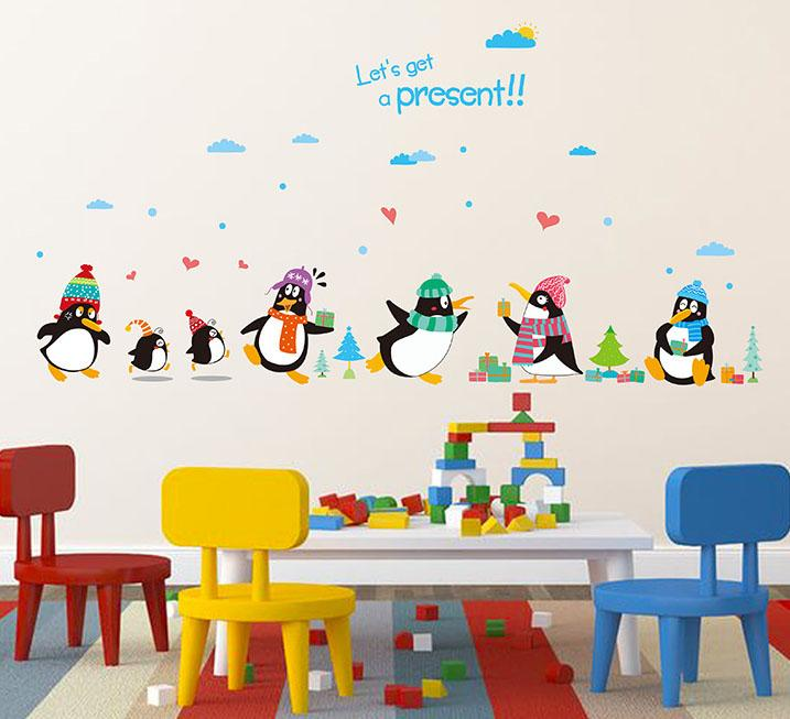 Penguin Present Wall Decal Sticker Kids Room Nursery Wall Art Mural Decor  Poster Penguin With Hat Wall Quote Applique Cute Penguin Art Wall Decal  Tree Wall