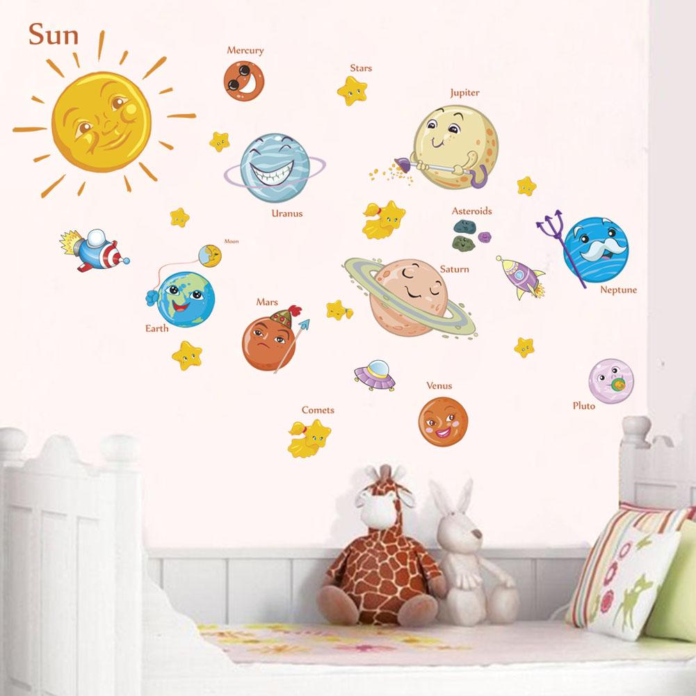 Solar System Wall Stickers Decals For Kids Rooms Stars Outer Space Planets  Earth Sun Saturn Mars Poster Mural School Decor Art Stickers For Walls Art  Wall