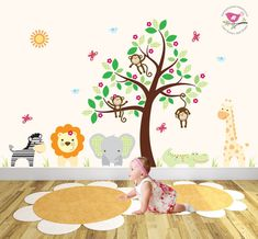Kids Wall Decal Mural Jungle Decal by EnchantedInteriorsUK on Etsy Jungle Wall  Stickers, Nursery Wall