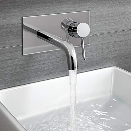 iBathUK | Wall Mounted Basin Sink Mixer Tap Chrome Bathroom Faucet TB3207