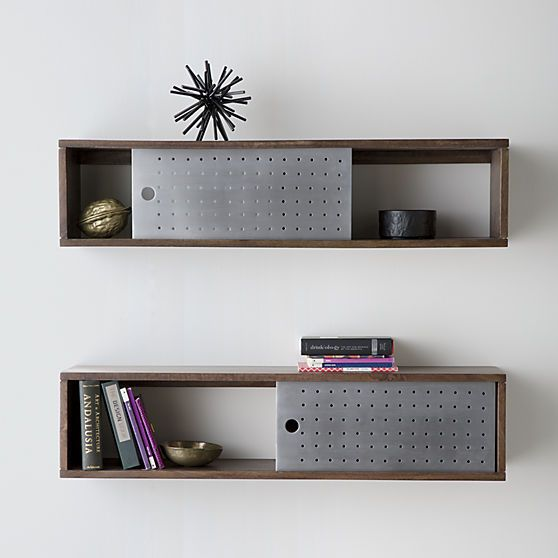 Dark mango wood shelf slides single perforated aluminum door to