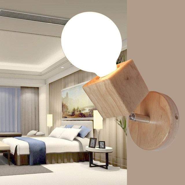 Modern Wall Lamps Bedroom Wall Lights Oak Wood Adjustable Wall