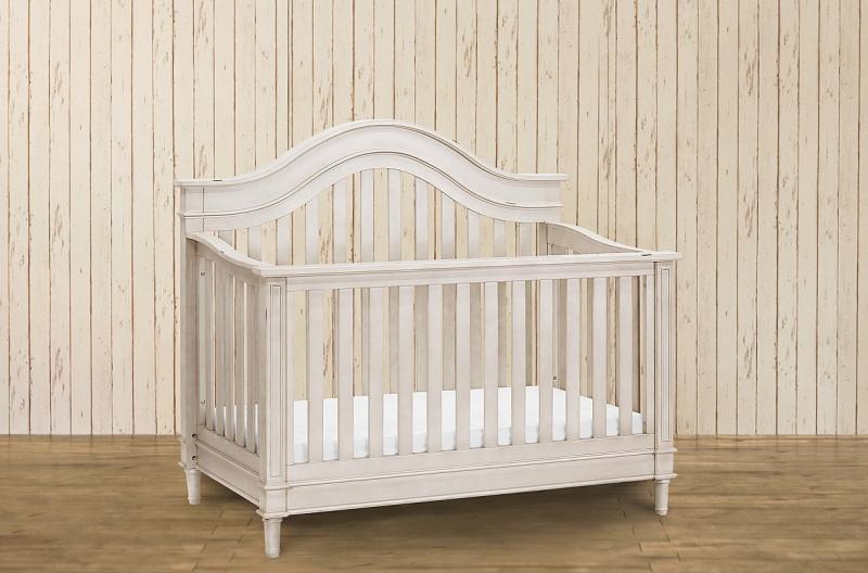 Amelia 4-in-1 Crib w/ Toddler Rail-Distressed White