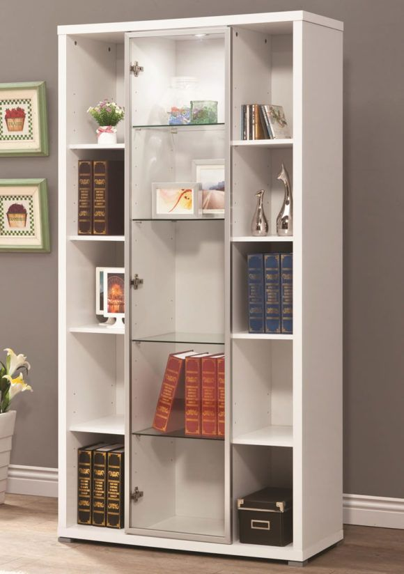 Furniture. Amazing White Bookcase With Glass Doors Design. White