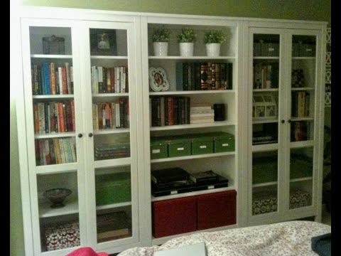 white bookshelf with glass doors - YouTube