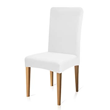 Subrtex Stretch Dining Room Chair Slipcovers (6, White Knit)