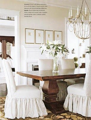 White Slipcovered Chairs and Rustic Table | Country French and other  furniture in 2019 | Dining, Dining room, Dining chairs