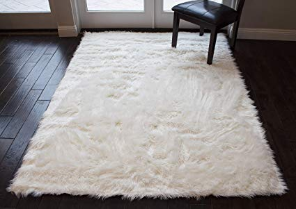 Fur Shag White Faux Sheepskin Area Rug Classic Rectangle Sheepskin Area Rug  Plush Premium Shag Faux