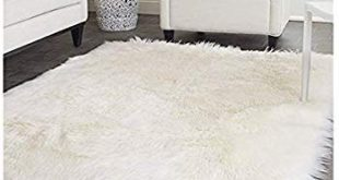 Elhouse Home Decor Square Rugs Faux Fur Sheepskin Area Rug Shaggy Carpet  Fluffy Rug for Baby Bedroom, 6ft x 6ft, White