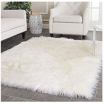 White fur shag rug gives a luxurious look   in the room