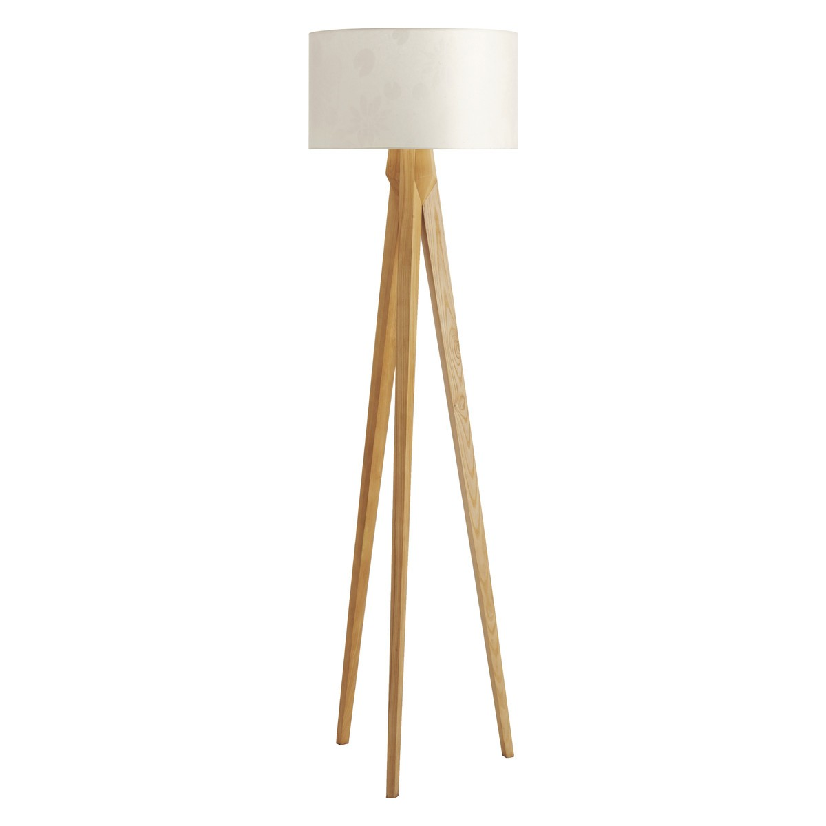 Care Instructions. Wipe clean with a dry cloth. TRIPOD OAK Wooden floor lamp  with white shade