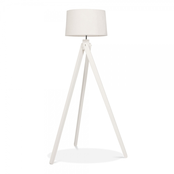 Cult Living Tripod Wooden Floor Lamp In White Wood Cult