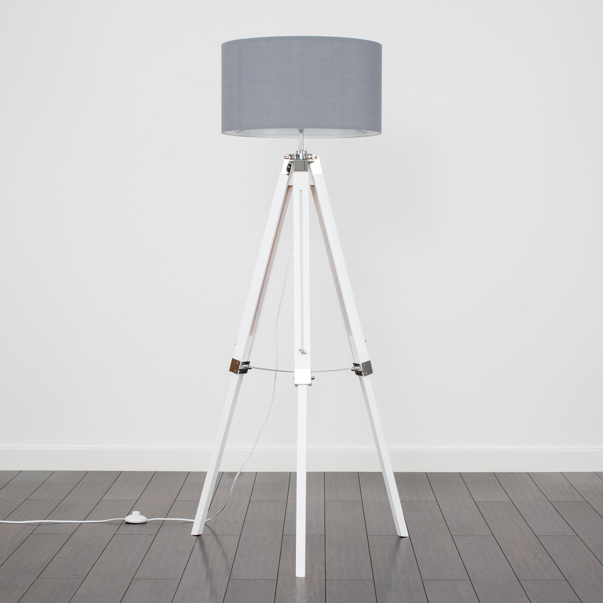 Clipper White Wood and Chrome Floor Lamp with Grey Shade