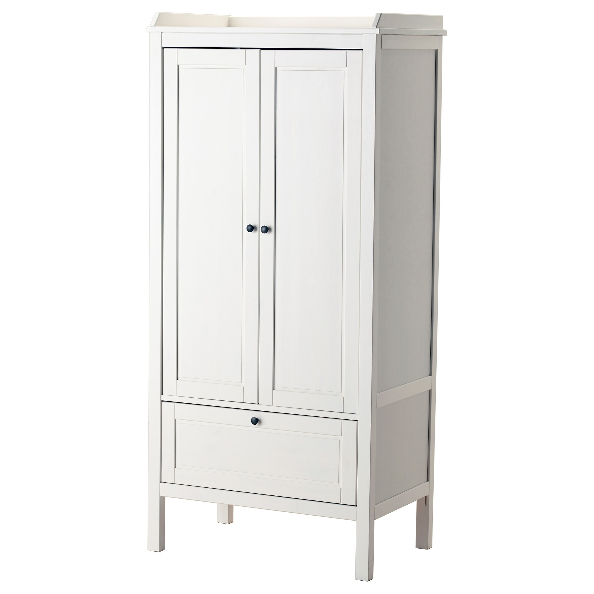 Furniture. white wooden Wardrobe with doors and single drawer also four  legs. Contemporary Idea