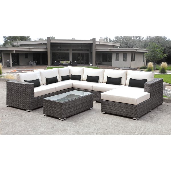 Shop Solis Lusso 7-piece Outdoor Sectional Grey Wicker Rattan Patio