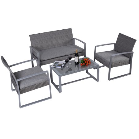 Costway 4pc Patio Furniture Set Cushioned Outdoor Wicker Rattan Garden Lawn  Sofa Seat