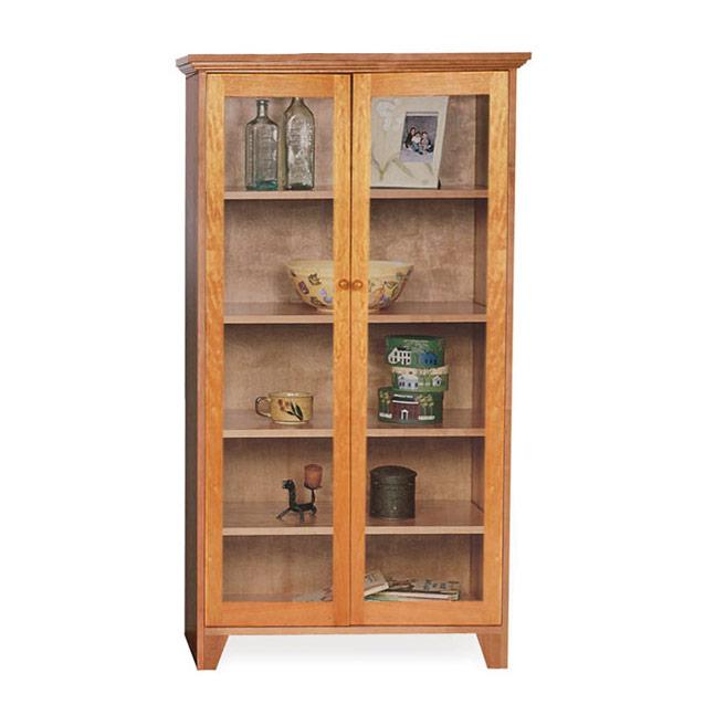 Custom Glass Door Shaker Bookcase | Natural Cherry, Walnut, Oak or Maple