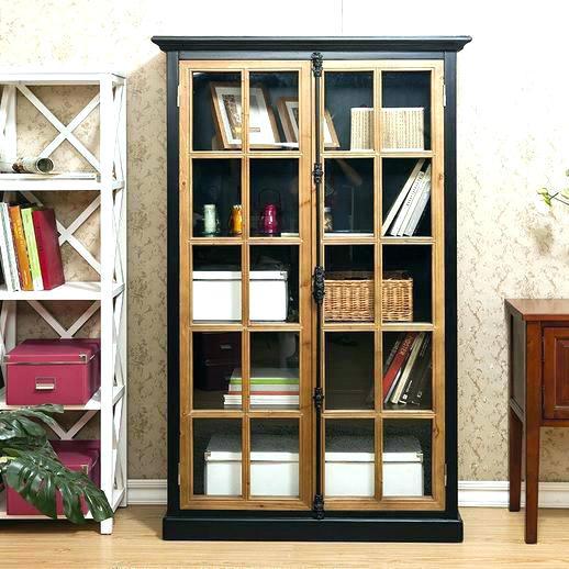 Black Wood Bookcase With Glass Doors Wooden Bookcases Door Furniture