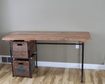 Sturdy Statements Customizable Reclaimed Wood Desk With (Optional) Drawers