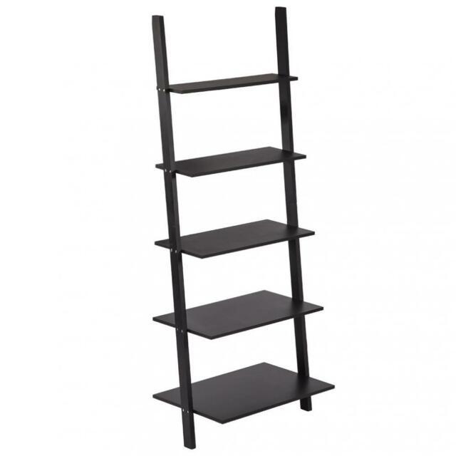 New Modern 5-Tiers Ladder Bookshelf Bookcase Leaning Ladder Wall Shelf  Storage