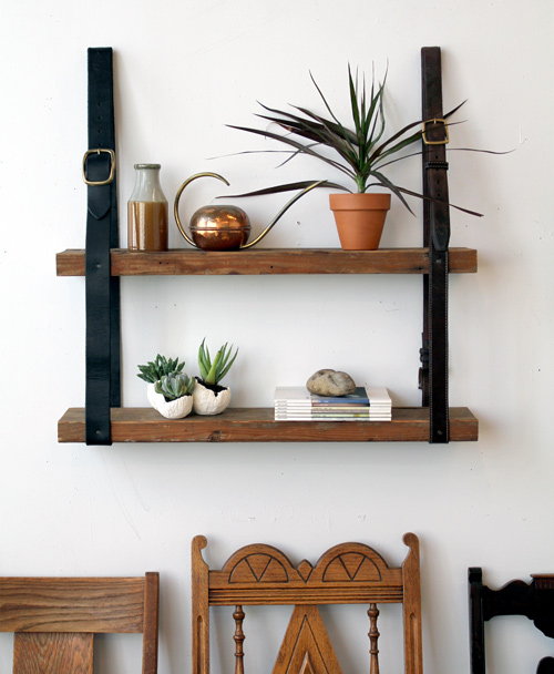 diy project: recycled leather & wood shelf u2013 Design*Sponge