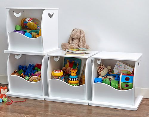 Stacking Open Toy Storage Trunk at STORE. White wooden stacking storage cube  to clear your clutter. The large scooped opening .