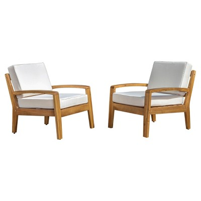 Grenada Set Of 2 Wooden Club Chairs With Cushions - Christopher