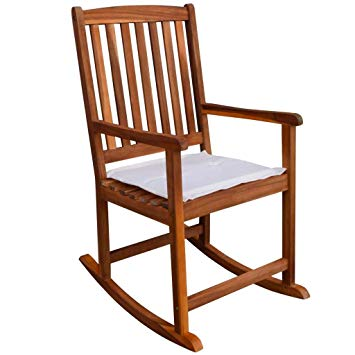 Amazon.com : Festnight Garden Wood Rocking Chair with Cushions and