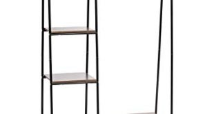 Image Unavailable. Image not available for. Color: IRIS Metal Garment Rack  with Wood Shelves