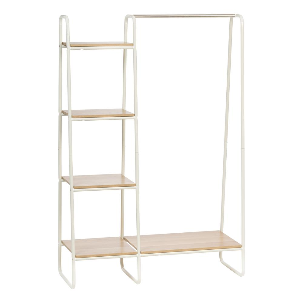 IRIS White and Light Brown Metal Garment Rack with Wood Shelves