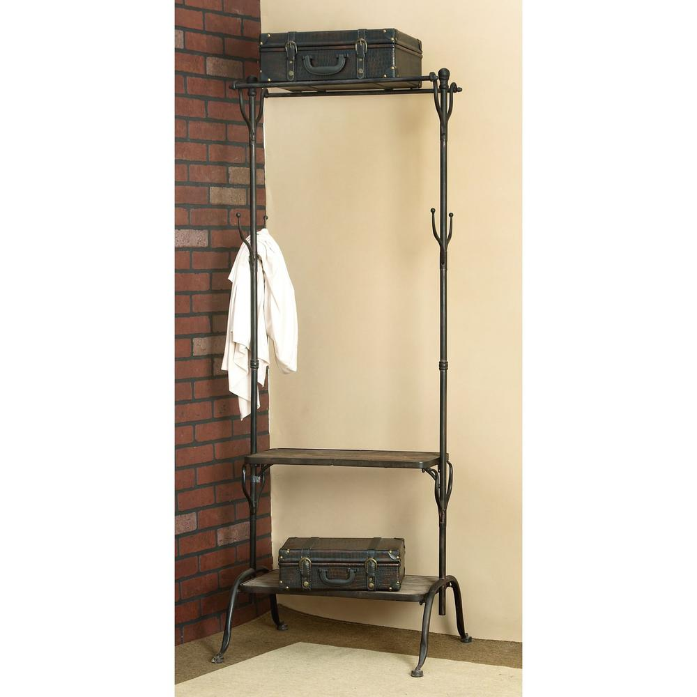 Litton Lane Black Metal and Natural Wood Clothing Rack with Coat Hooks and  Shelves-56117 - The Home Depot