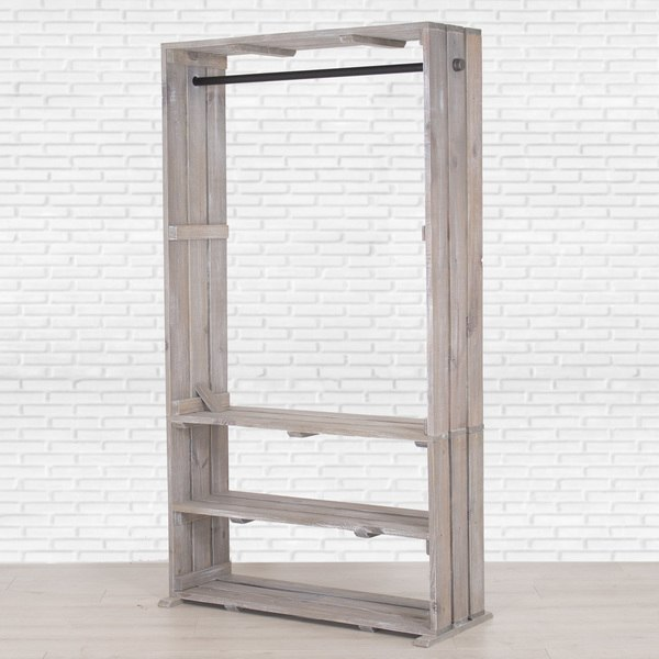 Wooden Clothing Rack with Shelves, Free Standing Clothing Storage, Closet  Organizer, Pipe and Wood Clothes Rack,