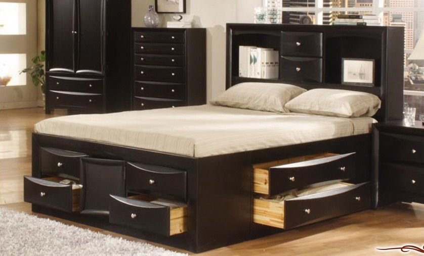 Walnut Finished Bedroom Set with Storage Bed