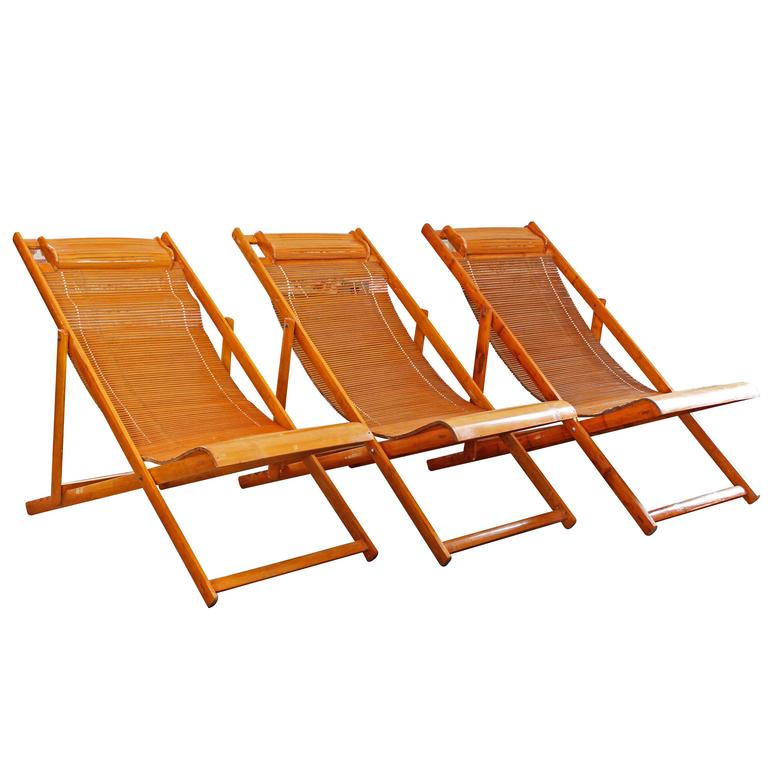 Vintage Bamboo Loungers Wood Japanese Deck Chairs, Outdoor Fold Up Lounge  Chairs For Sale