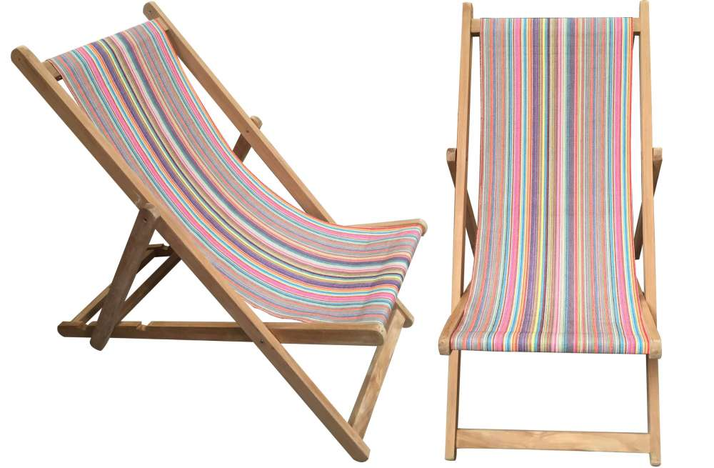 Rainbow Multi Striped Deckchairs | Wooden Folding Deck Chairs Mahjong  Stripes